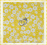 BonEful Fabric FQ Cotton Quilt VTG Bright Yellow Flower White S Polka Dot Calico