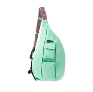 KAVU Rope Bag in Seafoam Durable cotton Zip Padded back panel 5Pockets Solid NWT