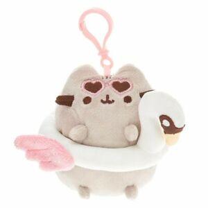 "NWT Pusheen the Cat Swan Floatie Tube 4.5"" Plush Key Ring Keyring Backpack Clip"