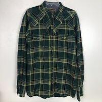 Wrangler Retro Shirt Mens Plaid Pearl Snap Olive Green Black Western Cowboy XL