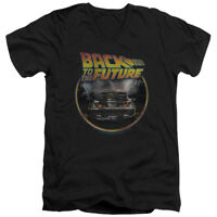 Back To The Future Sci-Fi Movie Delorean Back Adult V-Neck T-Shirt Tee
