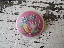 Ancien bouton en porcelaine peinte décor fleurs