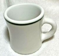 "Vintage restaurant ware white Victor green stripes diner cup mug 3.5"" classic"