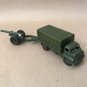 Vintage Dinky Toys Die Cast Vehicle - Military WW2 621 693 Army Wagon Cannon Gun