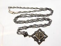Vintage 925 A Sterling Silver Smoky Quartz and Marcasite Pendant Necklace 22 In