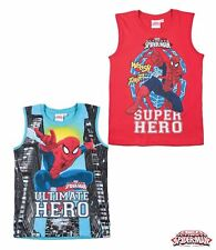 Boys Spiderman T Shirt Sleeveless Vest Top Red Blue Age 3 4 5 6 7 8 9 10 11 12 7-8 Years Red