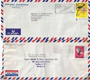 FF5117 Singapore EIGHT different solo stamp covers air mainly UK; 1970 - 1973