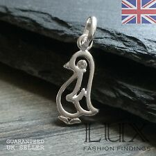 925 Sterling Silver Penguin Charm Pendant with CZ Detail Monty Happy feet winter