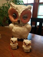 Vtg. Shawnee Pottery Winking Owl Cookie Jar 1940's Made in USA W salt and pepper