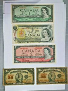 Lot of Canada Notes 2 Dominion 25C, 1923 1 and 2 Dollar, 1954 & 73 $1 99c NR