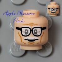 LEGO Light FLESH MINIFIG HEAD -Alfred White Mustache Grandpa Old Man Eye Glasses