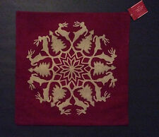 "Pottery Barn Reindeer Wreath Embroidered Pillow Cover ~ 20"" ~ New with Tags"