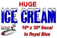 HUGE Ice Cream 10''x30'' Decal in BLUE for Ice Cream Truck - Parlor Cart Menu