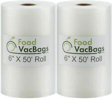 New listing 2 FoodVacBags 6X50 Rolls for FoodSaver machines Vacuum Sealer Bags Embossed