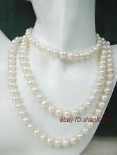 7-8mm, vogue, natural, blanc, perles d'eau douce, collier, long, 137cm,