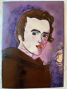 """Enamel On Copper Painting Signed Konstantyn Szonk (Ukraine) Portrait 5""""x7"""""""
