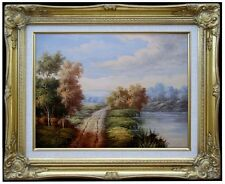 Framed Quality Hand Painted Oil Painting, Path through Countryside, 12x16in