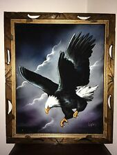 Vintage Eagle Velvet Painting From Mexico Signed Ortiz