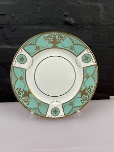 Wedgwood Prestige Sterling Dinner Plate Turquoise and Gold 27.5 cm Wide RARE
