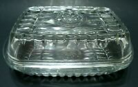 VINTAGE 1940s BUTTER REFRIGERATOR DISH 1 LB CLEAR GLASS SHIP WHEEL PATTERN