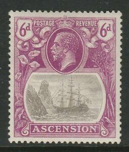 Ascension 1924-33 6d Grey-black & bright purple SG 16 Mint.
