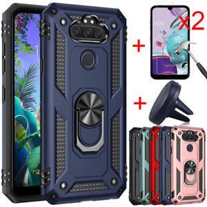 For LG Phoenix 5/K31/Aristo 5/Risio 4 Armor Case + Tempered Glass + Car Holder