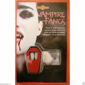 ADULT DRACULA EASY STICK ON VAMPIRE FANGS TEETH HALLOWEEN FANCY DRESS ACCESSORY