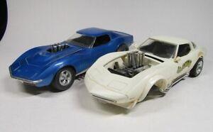 MPC Two 1/20 1970's Corvette Scale Built Plastic Models Vintage