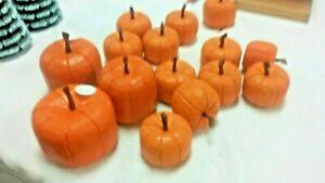 Hand Carved Wooden Harvest Pumpkin Orange