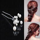6Pcs/Set Wedding Bridal Bridesmaid Pearl Flower Headpiece Hair Pin Clip Hairpin