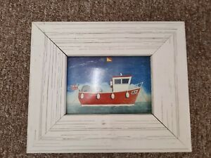 Picture of a Boat Wooden White Frame