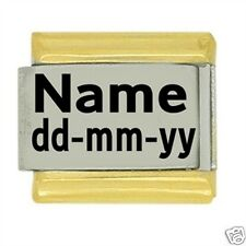 JSC Custom Made Personalised Italian Charm NAME & DATE - Gold Trim Classic Size
