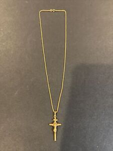 Vintage 18k Solid Yellow Gold Cross Crucifix Pendant Necklace