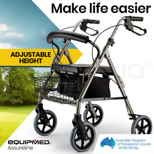EQUIPMED Rollator Walker Walking Frame With Wheels Zimmer Mobility Aids Seat 4