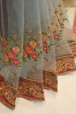Bollywood Multi Thread Work Net Designer Saree Indian Sari Wedding Party Dress