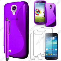Housse Etui Coque Silicone Violet Samsung Galaxy S4 Mini + Stylet + 3 Films