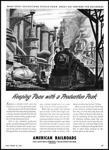 1947 American railroads train factory business vintage art print ad  ads4