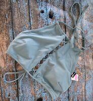 Victoria's Secret Pink Grayish Blue Strappy High Neck Crop Bikini Top M NWT