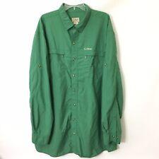 LL Bean Mens XXL Tall Roll Tab Long Sleeve Button Front Shirt Nylon Blend