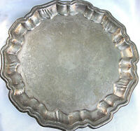 OLD VINTAGE SILVERPLATE BEAUTIFUL SERVING TRAY SIGNED LEONARD ITALY