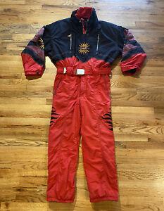 Vintage Bogner Sunsports Red Men's Ski Snow Suit Red Black SIZE 42 Layerlite