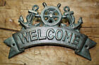 Cast Iron ANCHOR WELCOME Plaque Sign Nautical Wall Pool Home Decor SHIPSWHEEL