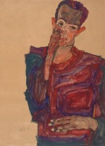 Self-Portrait with Eyelid Pulled, EGON SCHIELE Expressionism Secession Poster
