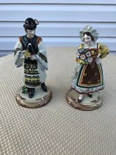 Two Italian Pottery Figurines Man And Woman With Flowers