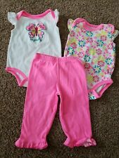 Baby girl Outfit Set Size 3 Months, Hot Pink Pants,  Butterfly Bodysuit