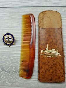 1948 S.S. Orontes Orient Line enamel badge With Comb & comb pouch S.S. Orontes