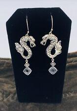 Auth JOHN HARDY Naga Dragon Legends Dangle Drop Earrings Silver, Quartz, Pouch