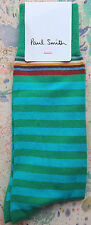 Paul Smith Mens English Socks Multi Stripe Green Turquoise F602 One Size Cotton