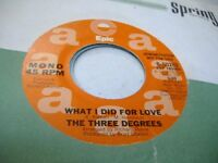 Soul Promo 45 THE THREE DEGREES What I Did For Love on Epic (promo)