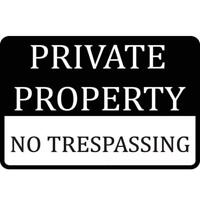 Metal Plate Sign Private Property NO Trespass Cave Home Gate Decor Warn Bar Tin